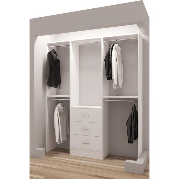 Elegant TidySquares White Wood 63 Inch Reach In Closet Organizer 4