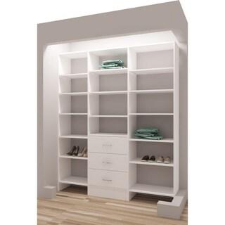 TidySquares Classic White Wood 69-inch Reach-in Closet Organizer