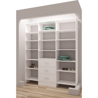 "TidySquares White Wood 69"" Reach-in Closet Organizer"