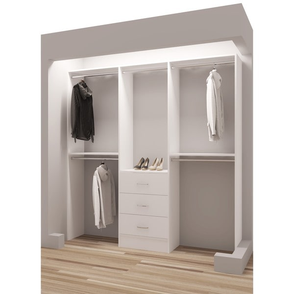 TidySquares Classic White Wood 75 Inch Reach In Closet Organizer