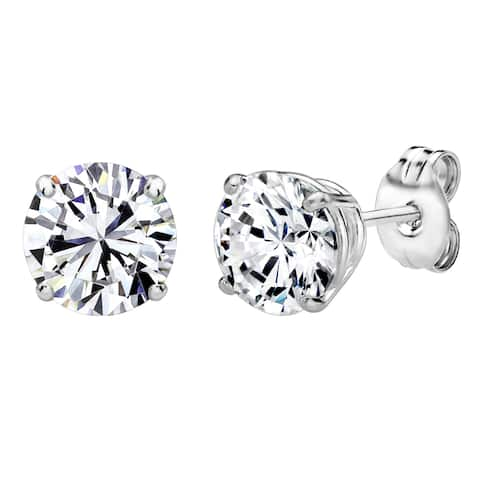 Solstice Sterling Silver 5mm Round Stud Earrings Made with Swarovski Zirconia - White