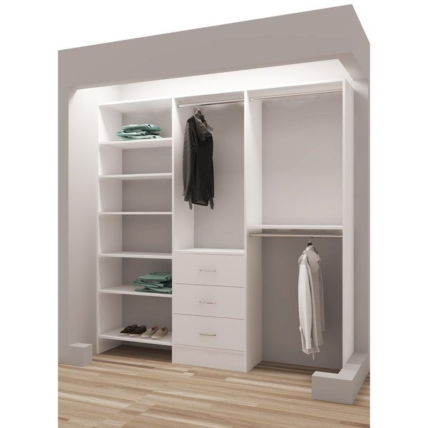 TidySquares Classic White Wood 81 Inch Reach In Closet Organizer