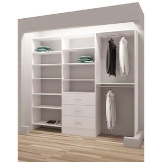 TidySquares Classic White Wood 87 Inch Reach In Closet Organizer