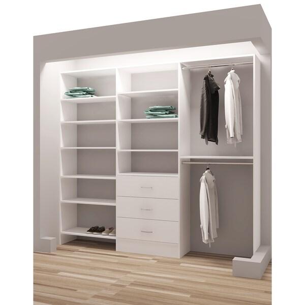 "TidySquares White Wood 87"" Reach-in Closet Organizer"