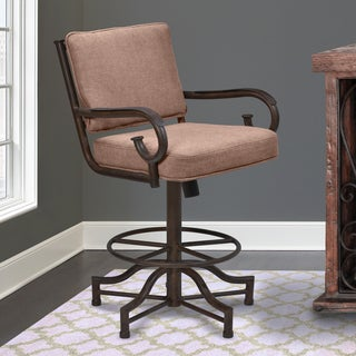 Armen Living San Diego Metal Swivel Barstool in Auburn Bay and Brown Fabric