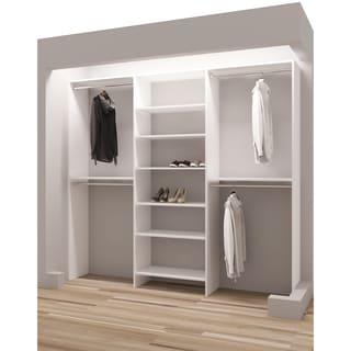 TidySquares Classic White Wood 87-inch Reach-in Closet Organizer