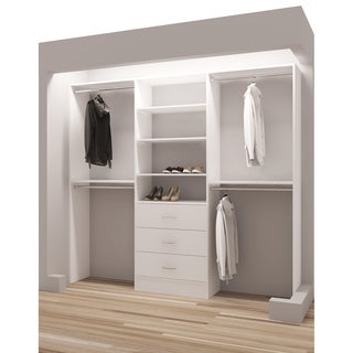 TidySquares Classic White Wood 93-inch Reach-in Closet Organizer