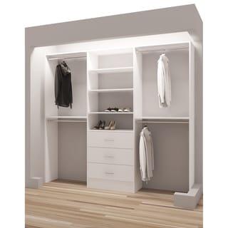 TidySquares Classic White Wood 93 Inch Reach In Closet Organizer