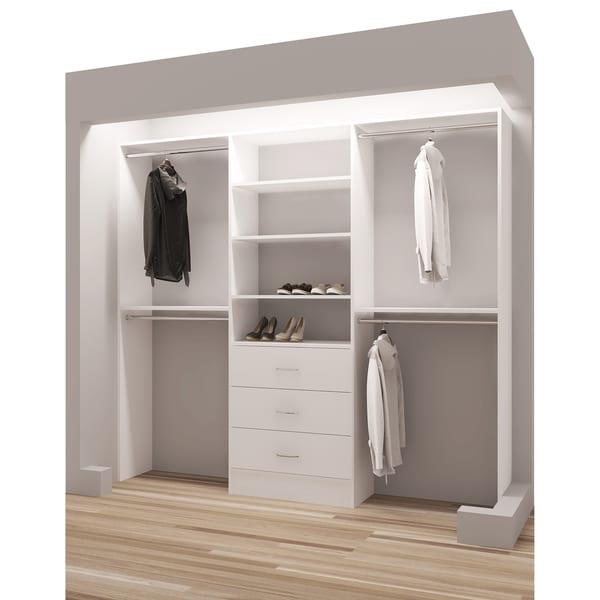"TidySquares White Wood 93"" Reach-in Closet Organizer"