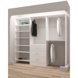 TidySquares Classic White Wood 93-inch Reach-in Closet Organizer