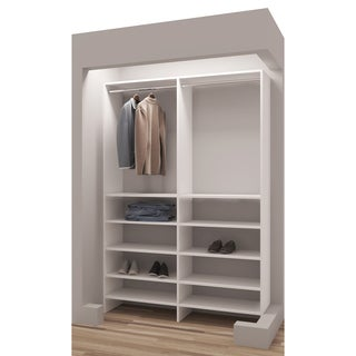 TidySquares Classic White Wood 50.25-inch Reach-in Closet Organizer