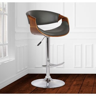 Armen Living Butterfly Black Walnut Wood Faux Leather Adjustable Swivel Barstool