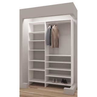 TidySquares Classic White Wood 50.25 Reach in Closet Organizer