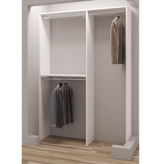 TidySquares Classic White Wood 56.25-inch Reach-in Closet Organizer