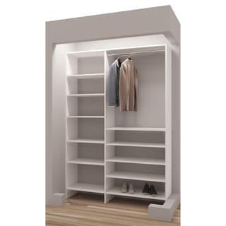 TidySquares Classic White Wood 56.25-inch Reach-in Closet Organizer