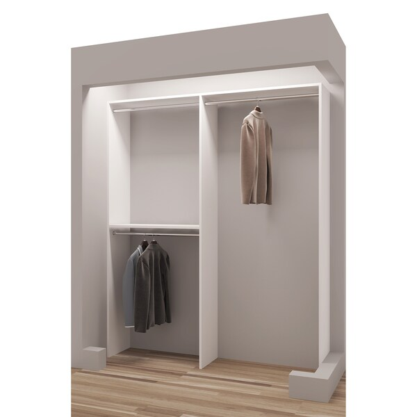 TidySquares Classic White Wood 63 Inch Reach In Closet Organizer