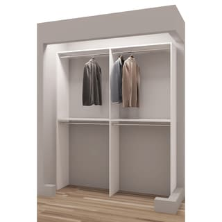 "TidySquares Classic White Wood 63"" Reachin Closet Organizer Design 2"