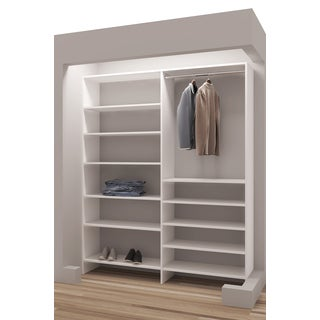 TidySquares Classic White Wood 63-inch Reach-in Closet Organizer