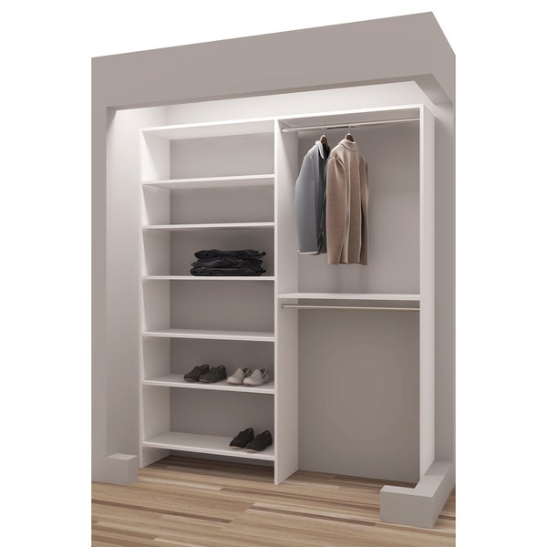 TidySquares Classic White Wood 69 Inch Reach In Closet Organizer