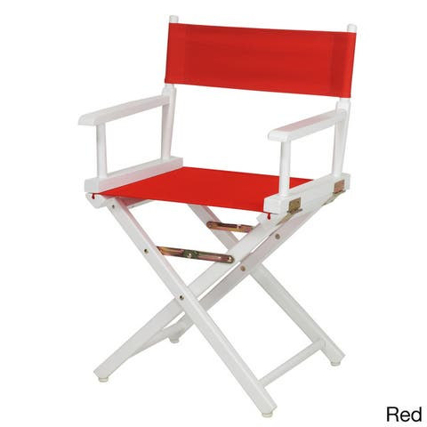 "White Frame 18-inch Director's Chair - 33.75""h x 21.75""w x 17""d - 33.75""h x 21.75""w x 17""d"