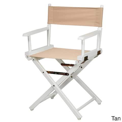 """White Frame 18-inch Director's Chair - 33.75""""h x 21.75""""w x 17""""d - 33.75""""h x 21.75""""w x 17""""d"""