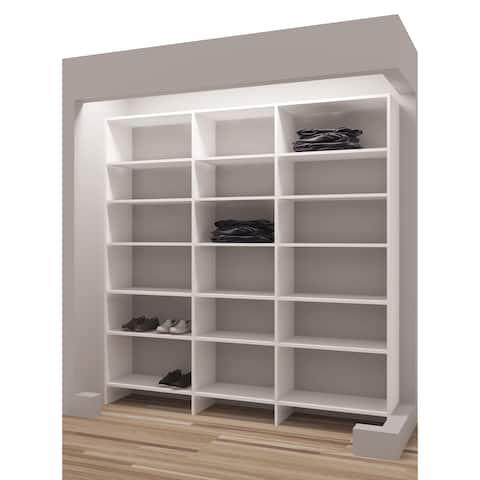 "TidySquares White Wood 75"" Reach-in Closet Organizer"