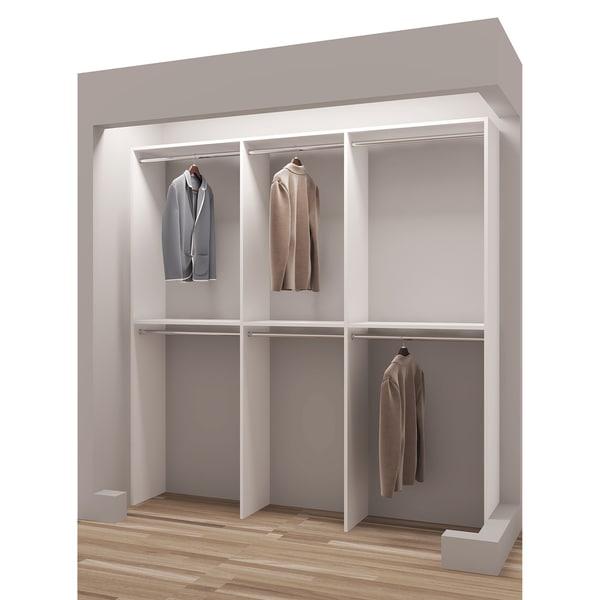 TidySquares Classic White Wood 75 Inch Reach In Closet Organizer