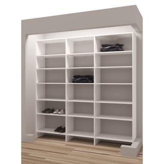 "TidySquares White Wood 81"" Reach-in Closet Organizer"
