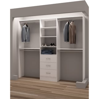 TidySquares Classic White Wood 87-inch Reach-in Closet Organizer