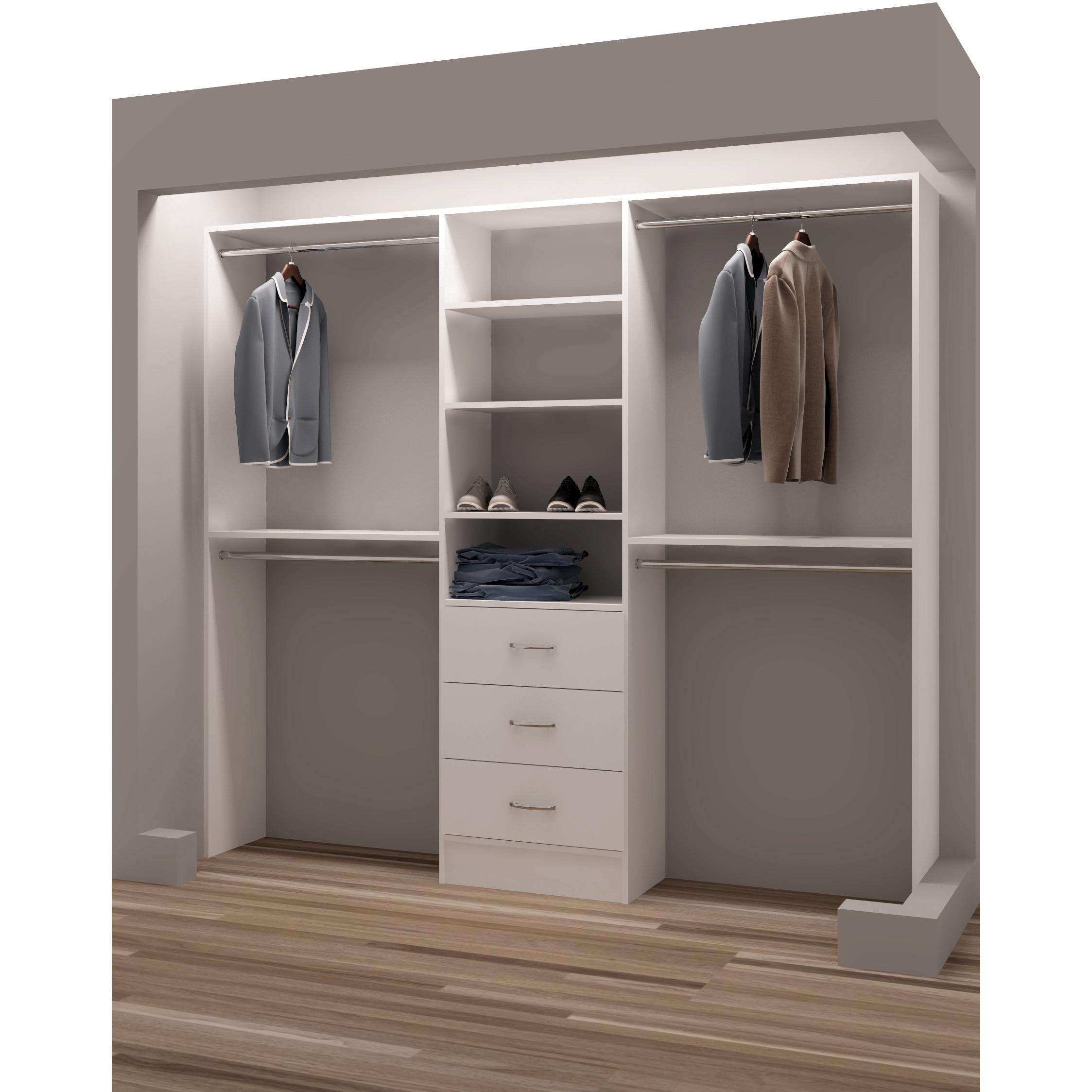 Shop Tidysquares White Wood 87 Inch Reach In Closet Organizer Overstock 13223586
