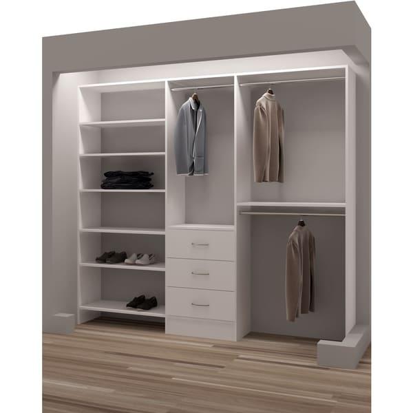 TidySquares Classic White Wood Reach In Closet Organizer Design 3