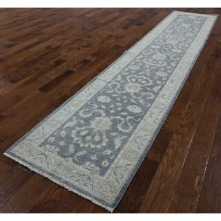 Peshawar Grey Wool Hand-knotted Oriental Runner Rug (2'8 x 13'5)