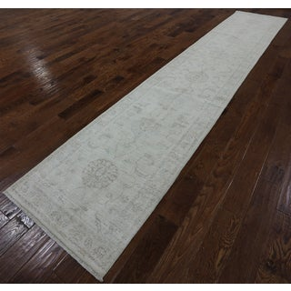 Oriental Peshawar Ivory Wool Hand-knotted Area Runner (2'7 x 13'10)