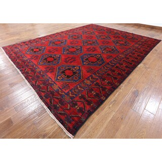 Hand-knotted Oriental Persian Balouch Red Wool Rug (9' 9 x 12' 10)