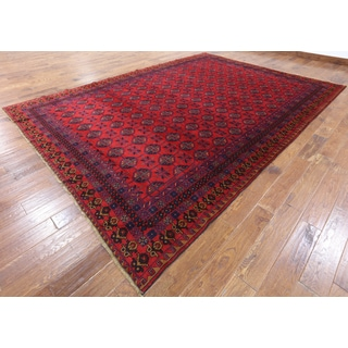 Oriental Persian Balouch Red Wool Hand-knotted Area Rug (8'11 x 12'7)