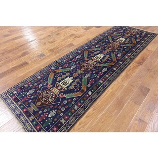 Persian Balouch Blue Wool-on-wool Hand-knotted Oriental Runner Rug (3'0 x 9'5)