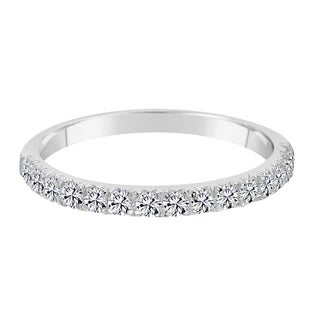 Sterling Silver Cubic Zirconia Band Ring Made With Swarovski Zirconia White