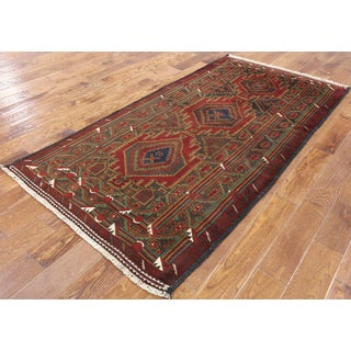 Oriental Persian Balouch Multicolored Wool Hand-knotted Area Rug (3'9 x 7'6)