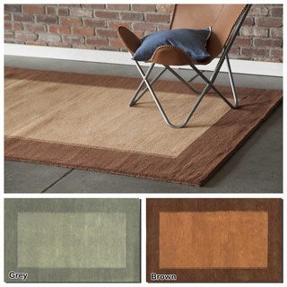 """Artist's Loom Hand-Tufted Contemporary Border Pattern Wool  Rug (7'9""""x10'6"""")"""