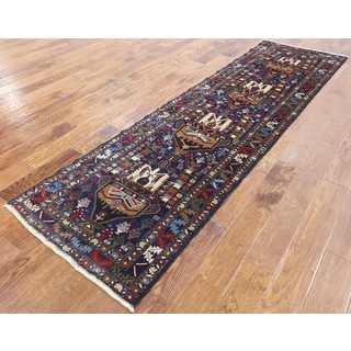 Oriental Persian Balouch Blue Wool Hand-knotted Runner Rug (2'8 x 9'4)