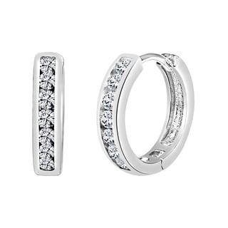 Sterling Silver Huggie Hoop Earring Made with Swarovski Zirconia