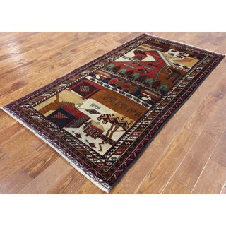 Oriental Persian Balouch Multi Wool Hand-knotted Area Rug (3'9 x 7')