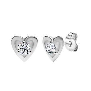Sterling Silver Heart Shape Stud Earrings Made with Swarovski Zirconia