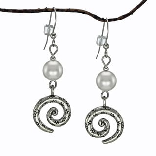 Jewelry by Dawn Silver Crystal Pearl Pewter Swirl Earrings