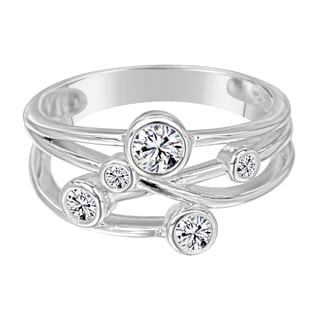 Sterling Silver Fashion Ring with 5 Zirconia Made with Swarovski Zirconia - White