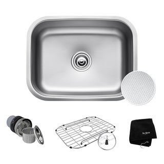 KRAUS Outlast MicroShield Scratch-Resist Stainless Steel Undermount Single Bowl Sink, 23-inch 16 Gauge