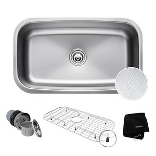 "KRAUS Outlast MicroShield Scratch-Resist Stainless Steel Undermount Single Bowl Sink, 31.5"" 16 Gauge, Premier Series"