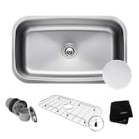 Kraus KBU14E Outlast MicroShield Undermount 31-1/2-inch 16 gauge Single Bowl Scratch-Resist Stainless Steel Kitchen Sink