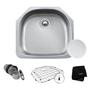 KRAUS Outlast MicroShield Scratch-Resist Stainless Steel Undermount Single Bowl Sink, 23 inch 16 Gauge
