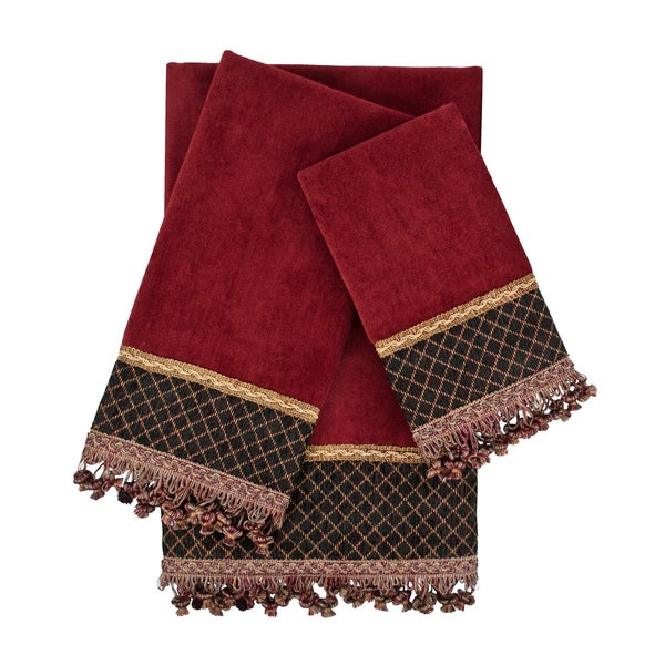 Sherry Kline Arcadia Red 3-piece Embellished Towel Set